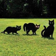 Hot Sale 3pec Black Metal Scare Cats Pest Control Scarer Repeller Cat Deterrant Black Cat