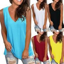 Verão mais tamanho t camisa feminina cor sólida com decote em v sem mangas superior colete t camisa feminina solta casual mulher tshirt ropa de mujer