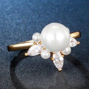 Image 4 - ALLNOEL bague en argent Sterling 925 en Zircon véritable perle en Zircon pour femme, couleur jaune or, refermable, bijou de fête, tendance 925