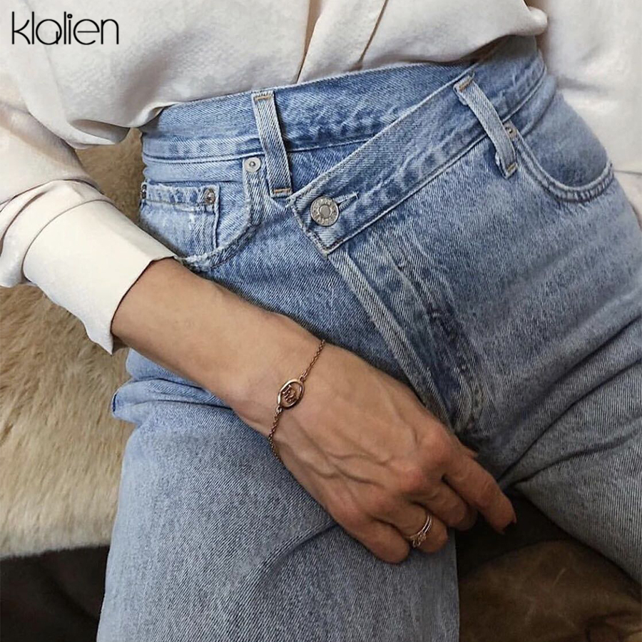 KLALIEN 2019 Autumn Fashion Jeans Women Loose Casual Straight Pants New Cotton High Waist Streetwear Office Lady Wide Leg Pants