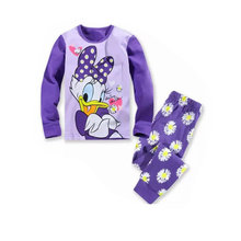 Little Girls Pajamas Christmas Loungewear Daisy Duck Minnie Mouse Cartoon Printed I Love Dad Boy Pajamas Sets Kids Clothes(China)