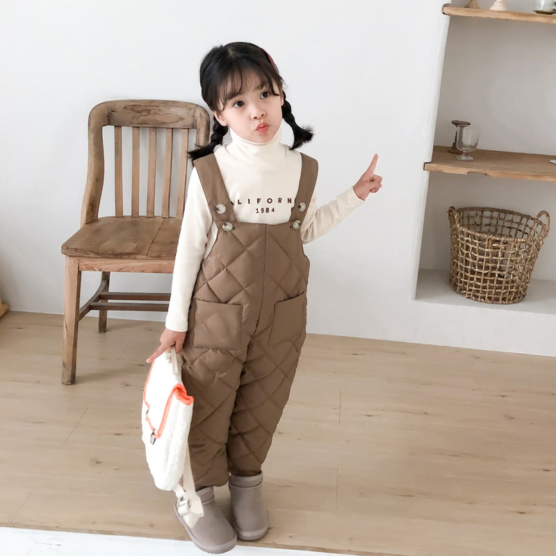 Winter Warm Overalls For Children Baby Girls & Boys Cotton Padded Pants Snow Wear Kids Thick Overalls For Girls 1-5 Years