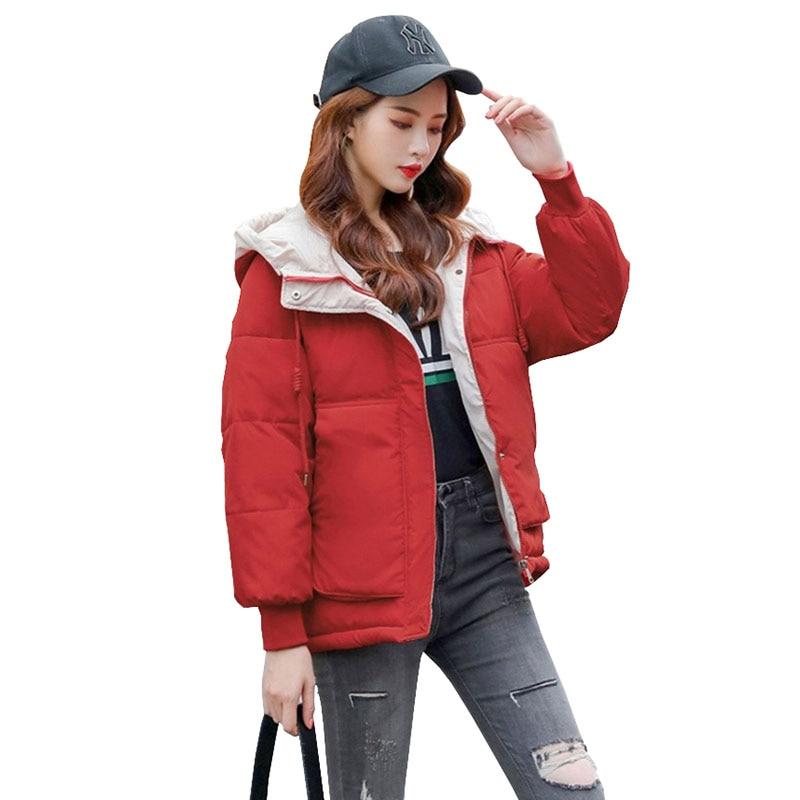 Зимнее пальто для женщин 2020 Новая модная зимняя куртка женская парка с хлопковой подкладкой верхняя одежда с капюшоном 7 цветов однотонная женская куртка пальто 3XL|Парки|   | АлиЭкспресс
