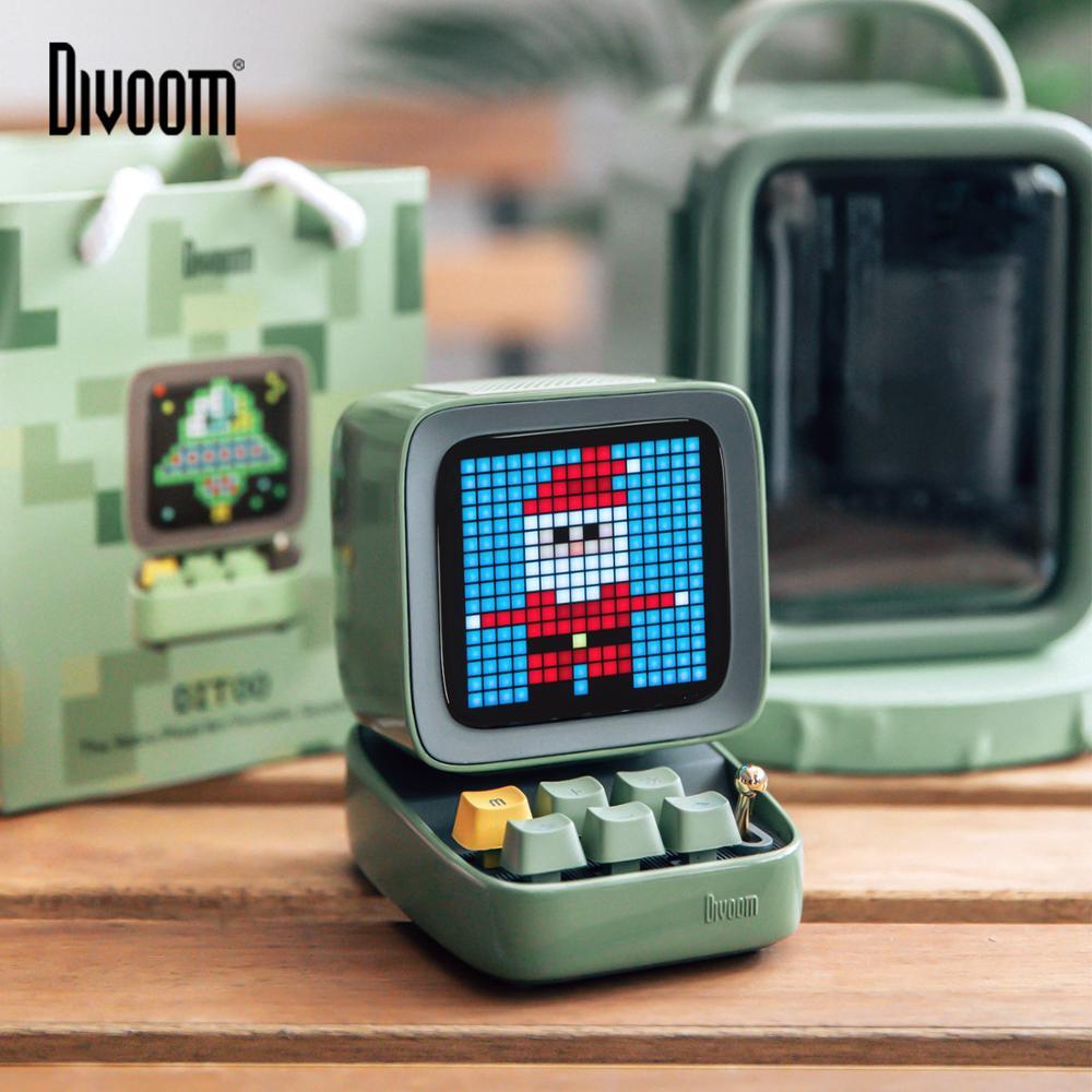 The Latest  Divoom Ditoo Retro Pixel art Bluetooth Portable Speaker Alarm Clock DIY LED Screen By APP Electroni