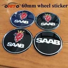 Auto Accessories 4pcs 60mm Wheel Center sticker car wheel cap sticker for Saab car wheel hub cap sticker