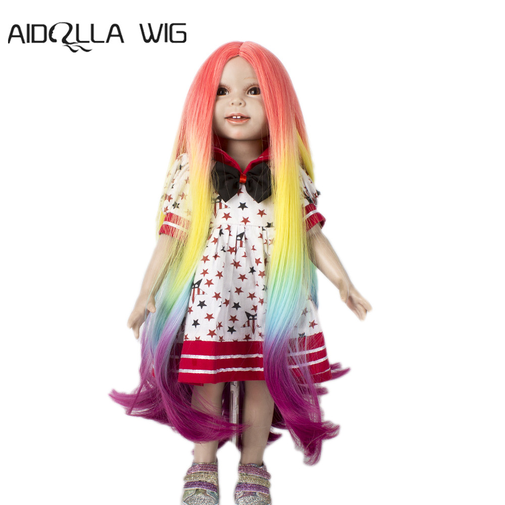 Aidolla  Doll Wig For 18 Inch American Doll  Rainbow Long Curly Heat Resist Doll Wigs For 18 Inch Dolls Hair For Dolls