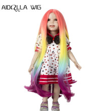Aidolla  Doll Wig for 18 inch American Rainbow Long Curly Heat Resist Wigs Dolls hair dolls