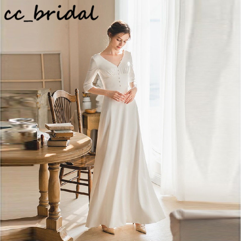 Korean Wedding <font><b>Dress</b></font> 2020 With Three Quarter Long Sleeves Boho Bride <font><b>Dress</b></font> <font><b>Sexy</b></font> Backless vestido <font><b>casamento</b></font> <font><b>praia</b></font> Cheap Customize image