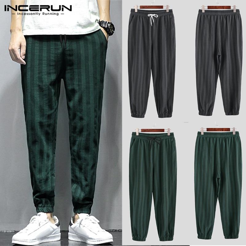INCERUN Men Striped Elastic Waist Pants Casual Stylish Streetwear Sweatpants Straight Leg Lacing Pockets Trouser Pantalon Hombre