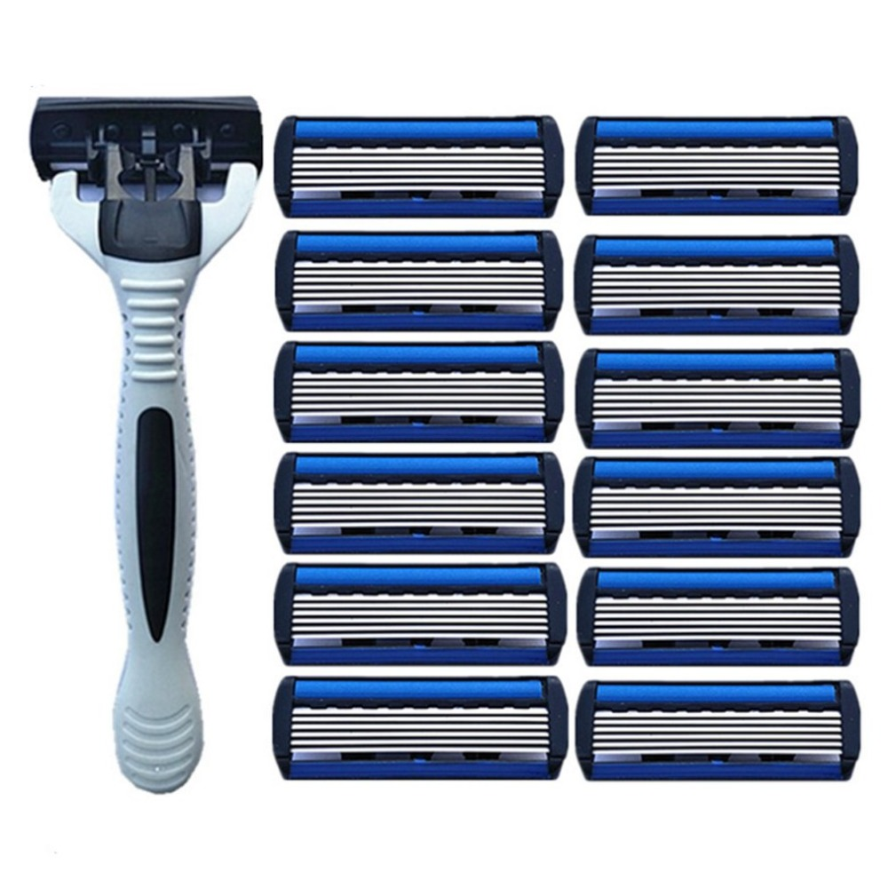 1pcs Beard Shaver Rack +12 Pcs 6-Layer Blades Manual Beard Shaver Manual Hand Safety Razor 6PCS 6-Layer Blade ABS Grip Anti-slip