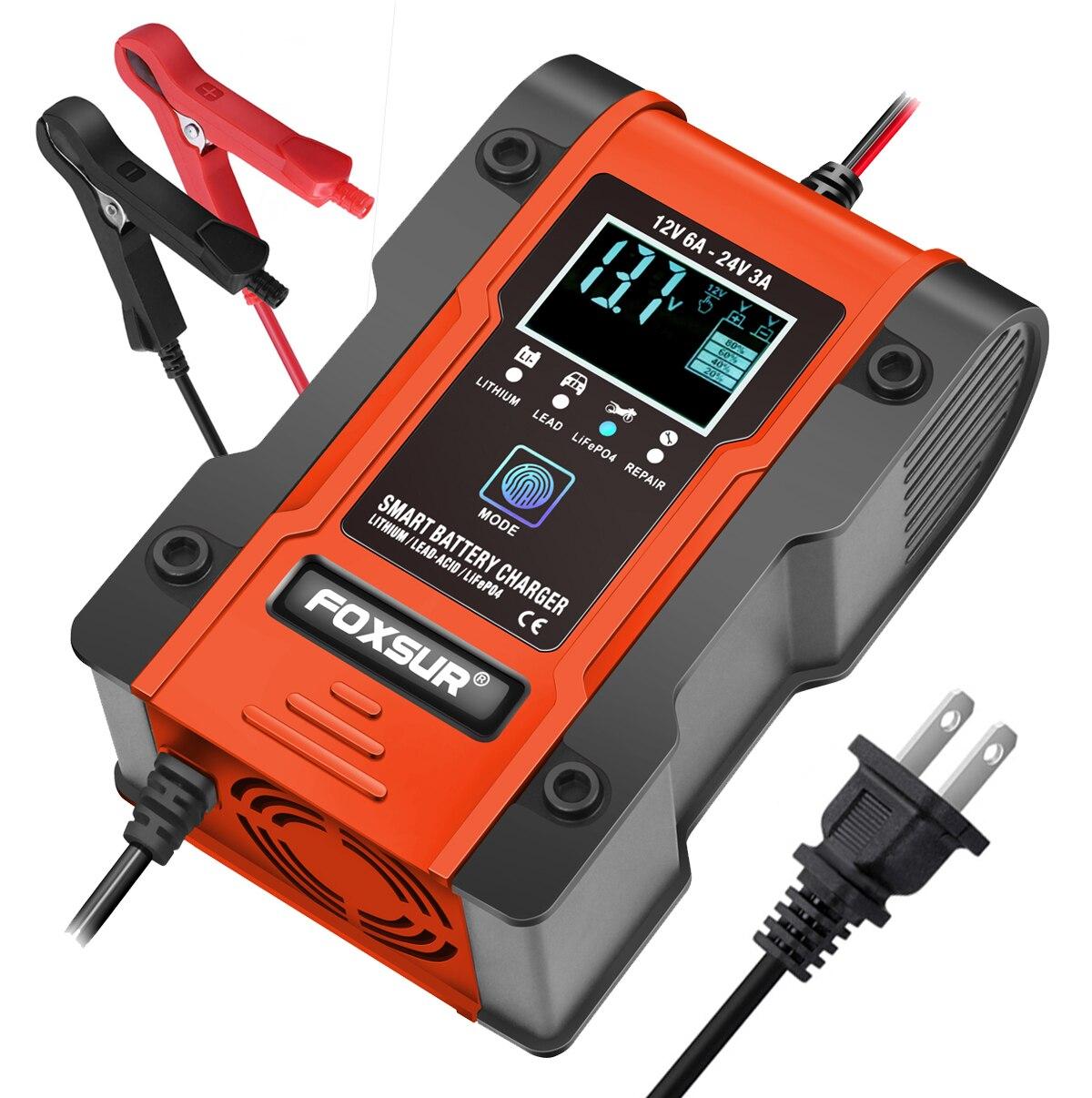 Полностью автоматическое умное зарядное устройство FOXSUR 6A, зарядное устройство 12 В 24 В, устройство для поддержания аккумулятора, десульфато...