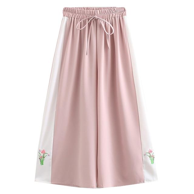 Women Side Floral Embroidery Wide Leg Pants Summer Sweat Long Pants Hight Waist Elastic Casual Loose Sweatpant Female