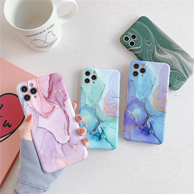 Ottwn Fashion Matte Marble Texture Stone Phone Case For iPhone 11 11Pro Max X XR XS Max 7 8 Plus Soft IMD Silicone Back Cover 3