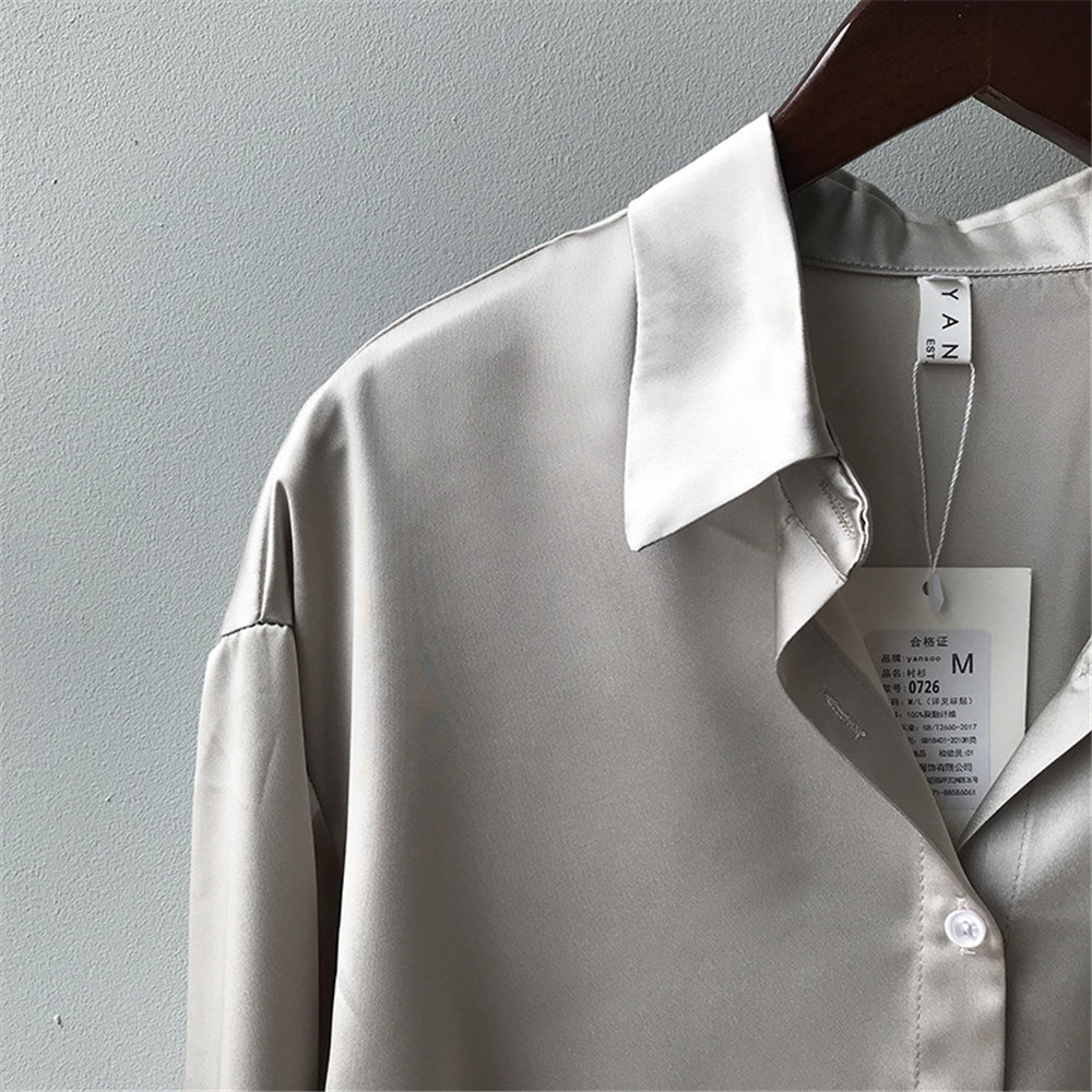 High quality Women Silk Satin Blouse 2020 Summer Women Satin Blouses Shirt Office Long Sleeves Femme V Neck Loose Street Shirts (63)