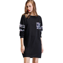 Fashion Dress Women Winter Womens New Casual Pocket Sweater Long Sleeve O-neck Plus Size Boho Hot
