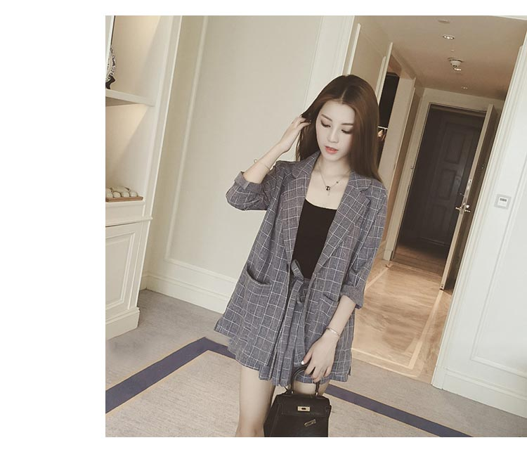 Spring Summer Women Two Piece Set Casual Tops + Shorts Plaid Single Breasted Top Female Office Suit Set