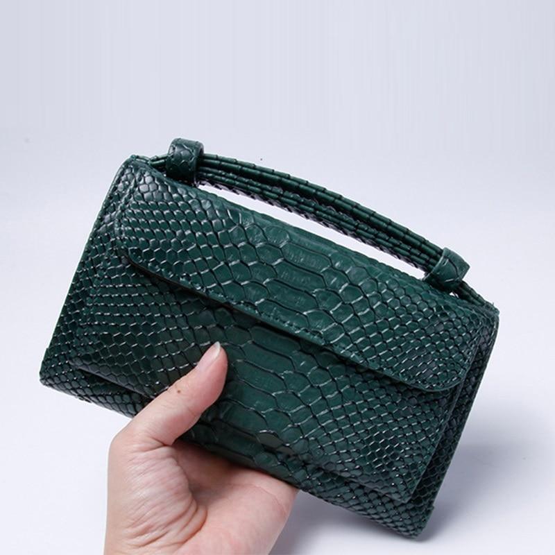 Fashion Cowhide Leather Day Clutch One Shoulder Cross-body Bag Small Crocodile Pattern Genuine Leather Clutch Chain Women's Bag