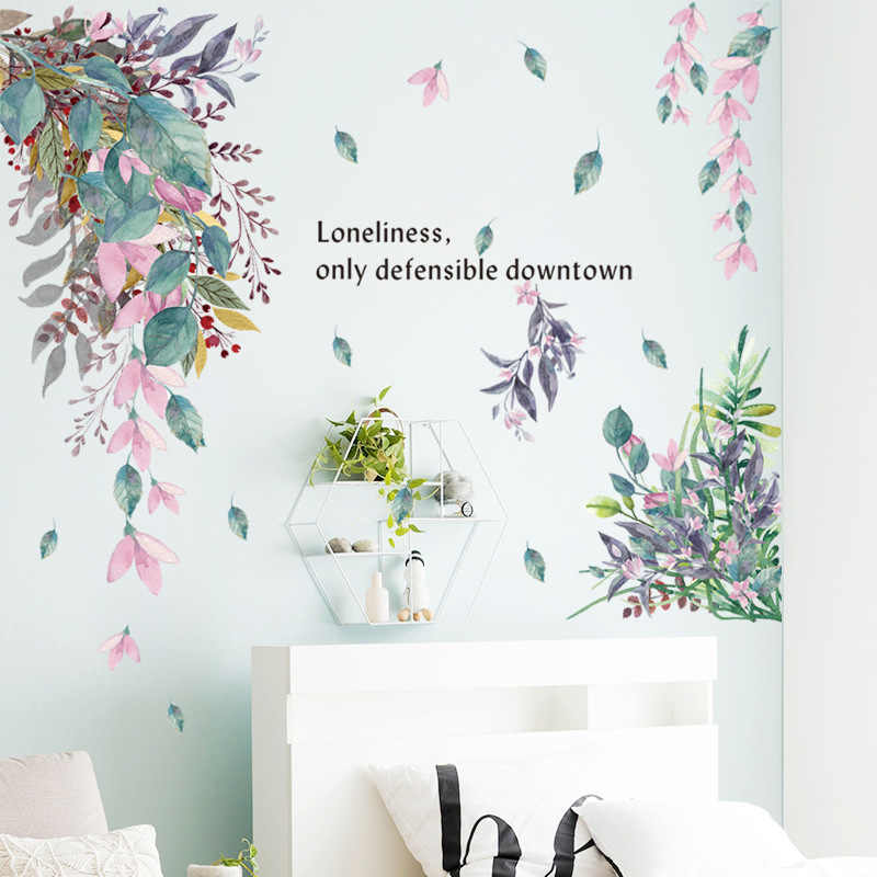 PVC Wall sticker Waterproof Design Mural Background Leaves Removable Home Decoration Durable