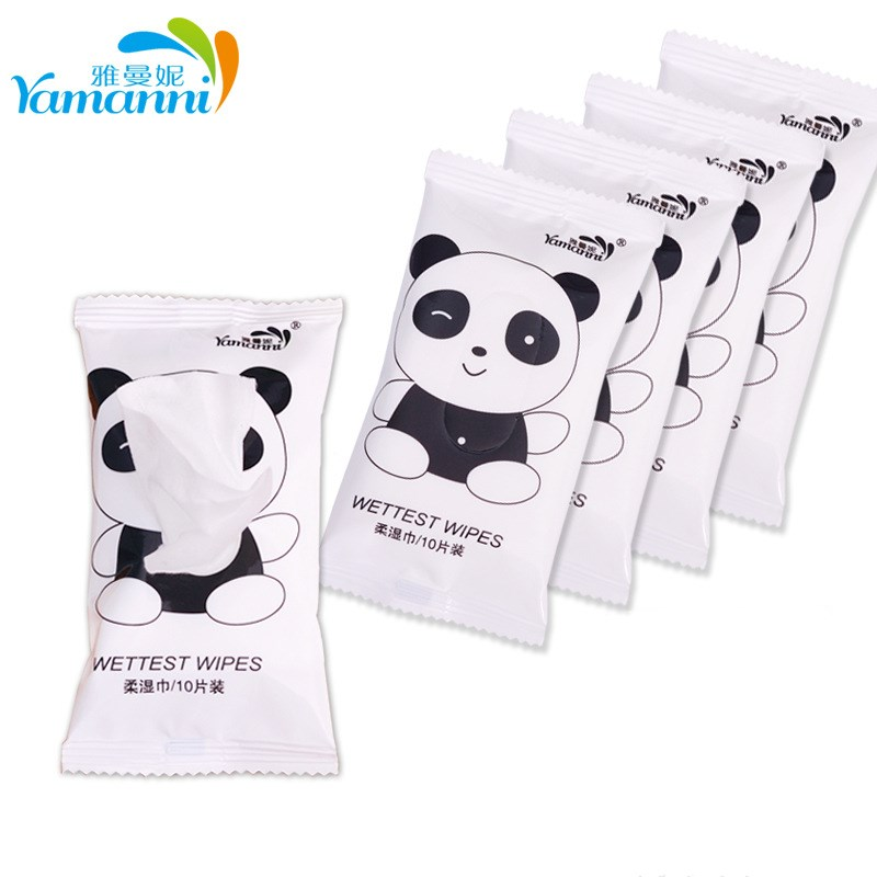 100PCS /10packs Removable Wet Tissue Sterilized Non-woven Hand Mouth Wet Paper Towel Disposable Packet Portable  Wipes Tissue