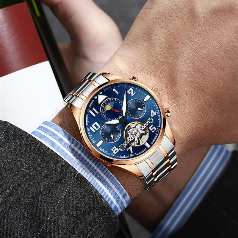 Multifunction tourbillon watches men luxury brand Moon phase automatic mechanical watch hollow flywheel men's watch NEW|Mechanical Watches| |  - title=