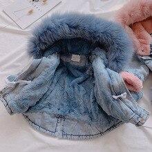 Хлопковое Стеганое пальто для девочек детские джинсы плотное зимнее пальто