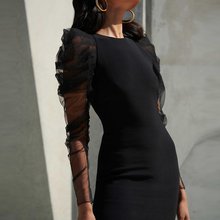 Новинка, зимние черные вечерние платья, женское платье с круглым вырезом и рукавами-лепестками, Бандажное Сетчатое платье, платье для выпускного вечера