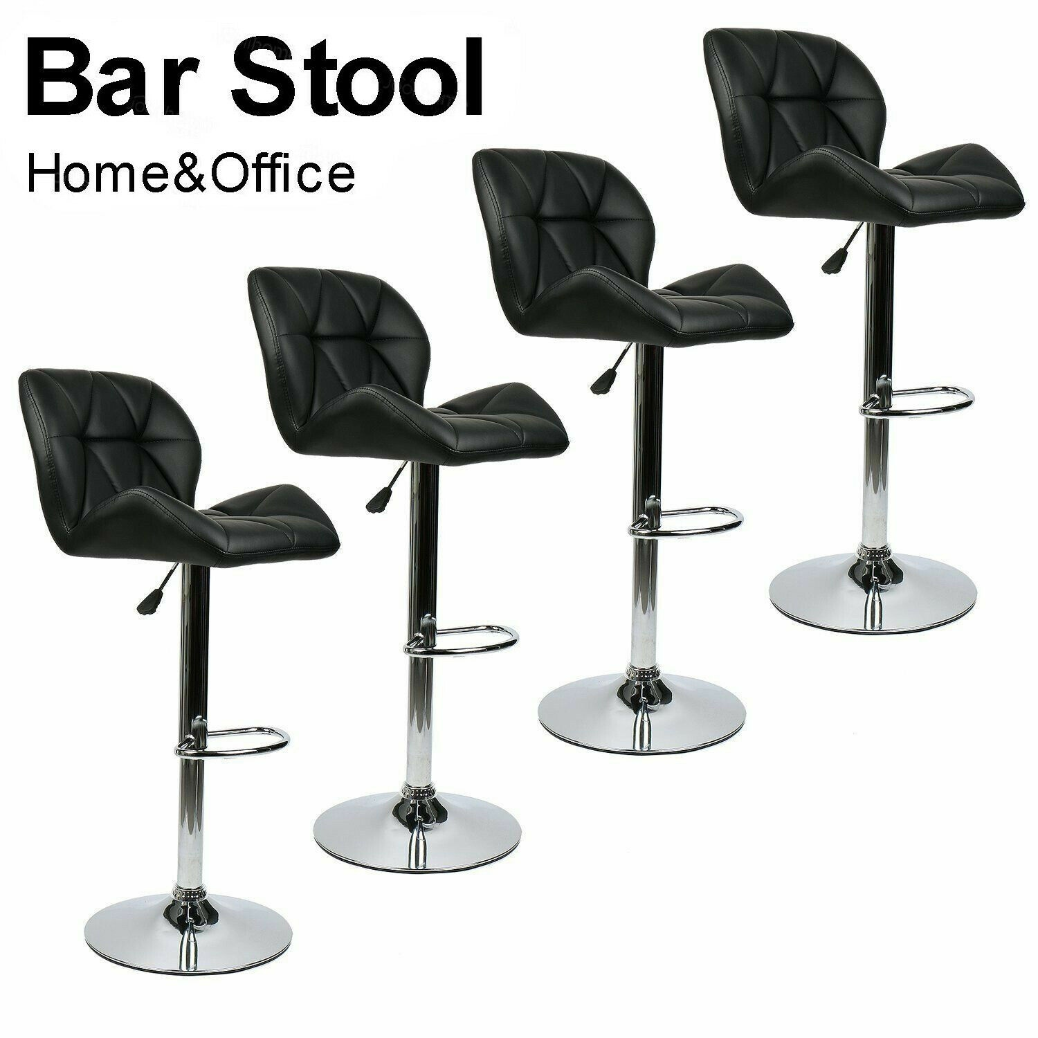 Set Of 4 Bar Stools Faux Leather 360 Degree Swivel Adjustable Kitchen Pub Chair