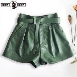Женские плиссированные шорты из натуральной кожи в стиле Харадзюку, широкие шорты с завышенной талией цвета хаки/зеленый, повседневные сек...