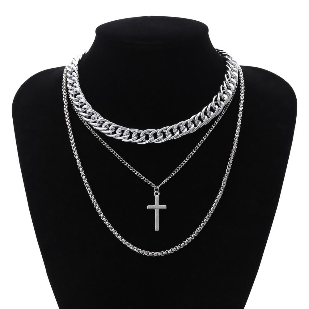 Ожерелье с кулоном-крестом, серебристого цвета, в готическом стиле