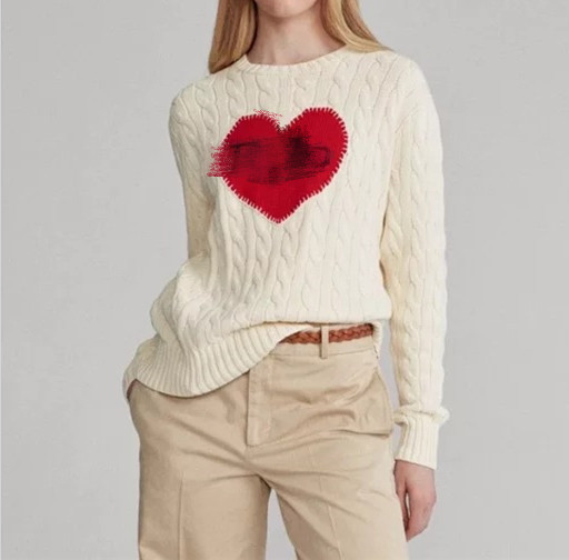 Letter Heart Embroidery Knitted Sweater Women Knitted Pullover Autumn Winter Knitwear Top