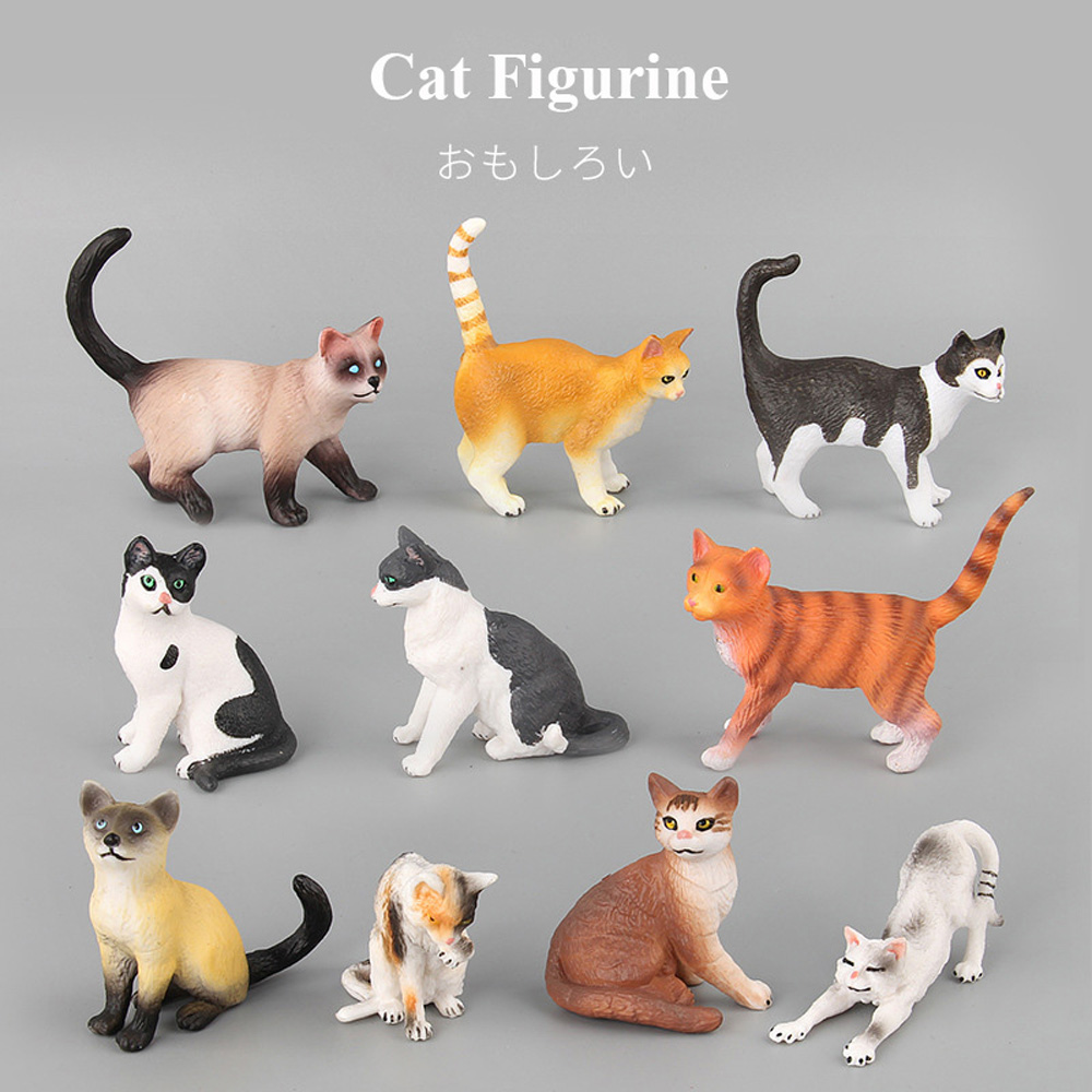 Farm Simulation Mini Cat Animal Model SSmall Plastic Figures Home Decor Figurine Decoration Accessories Gift For Kids Toy Statue