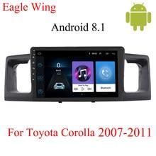 Kit de multimídia automotivo com dvd player, android 8.1car, para toyota corolla e120 e 120 byd f3 2001-2011, rádio estéreo wi-fi wi-fi