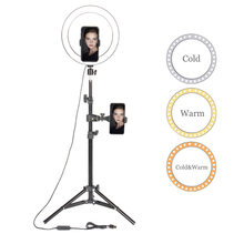 """10 """"LEDแหวนแสงถ่ายภาพSelfieสำหรับYoutube Makeup Video Studioขาตั้งกล้องสำหรับสมาร์ทโฟน"""