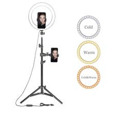 """10 """"led anel de luz fotográfico selfie anel luz com suporte para youtube estúdio de vídeo maquiagem tripé luz anel para smartphone"""