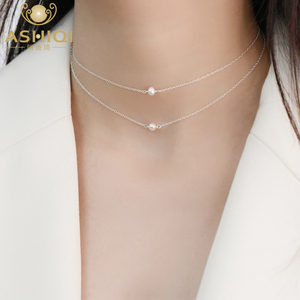 ASHIQI Natural Freshwater Pearl 925 Sterling Silver choker pearl necklaces for women layered Chain jewelry