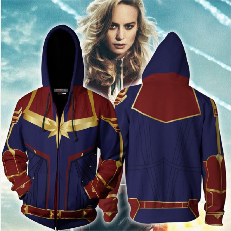 Hot Sale The Avengers Sweatshirt Men Women Captain Marvel Cosplay 3D Hoodies Male Zip Up Tracksuit Man Jacket