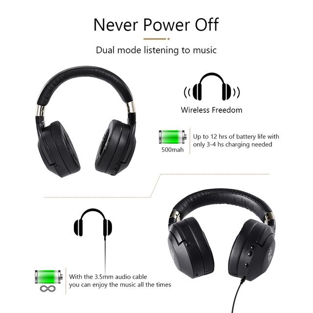 Active Noise Cancelling Wireless Bluetooth HiFi Deep Bass Headphones