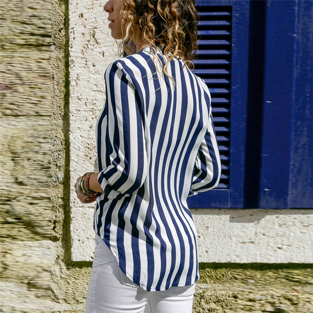 Summer V-neck striped chiffon ladies shirt long sleeve