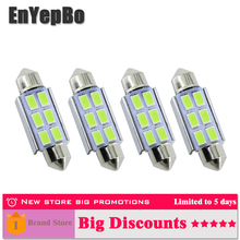 4Pcs For JETTA GTI GOLF RABBIT MK4 MK5 PASSAT B5 B6 C5W 36mm Canbus No Error License Number Plate Light LED car Bulb EnYepBo цена