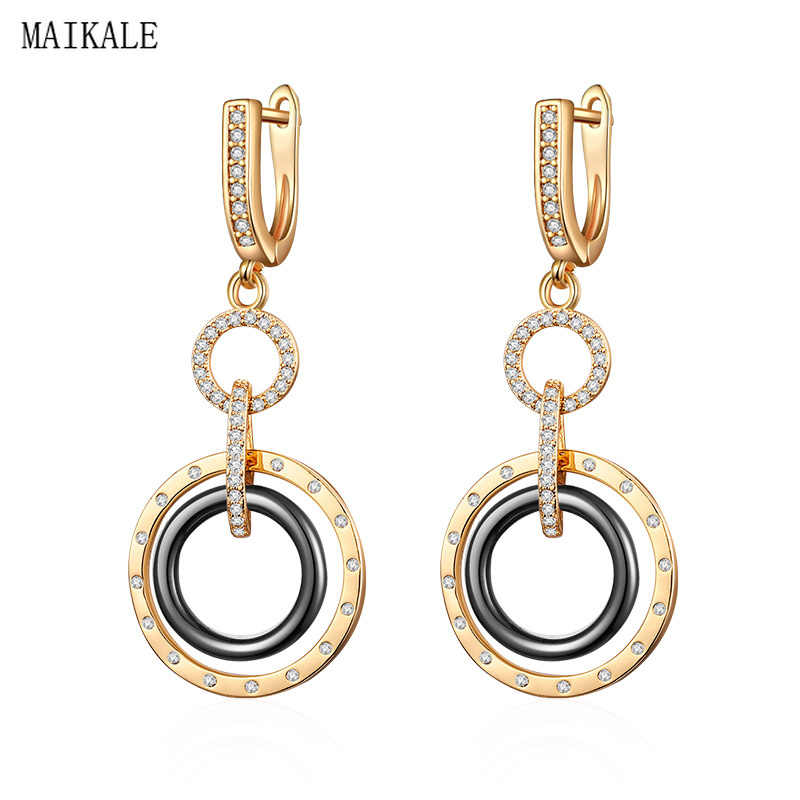 MAIKALE Round Ceramic Long Earrings Cubic Zirconia Copper Circle Gold Silver Drop Dangle Earings for Women Trendy Jewelry Gifts