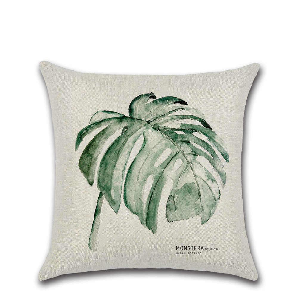 Hojas verdes plantas algodón Lino tiro almohada cubierta sala de estar dormitorio almohada cuadrado 45X45cm