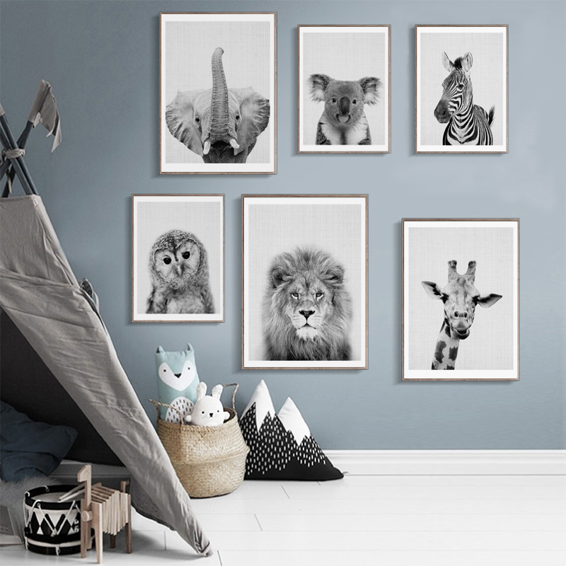 2 37 48 De Réduction Nordique Noir Blanc Affiches Et Impressions Mur Art Toile Peinture Animal Photo Pour Salon Scandinave éléphant Décor à La