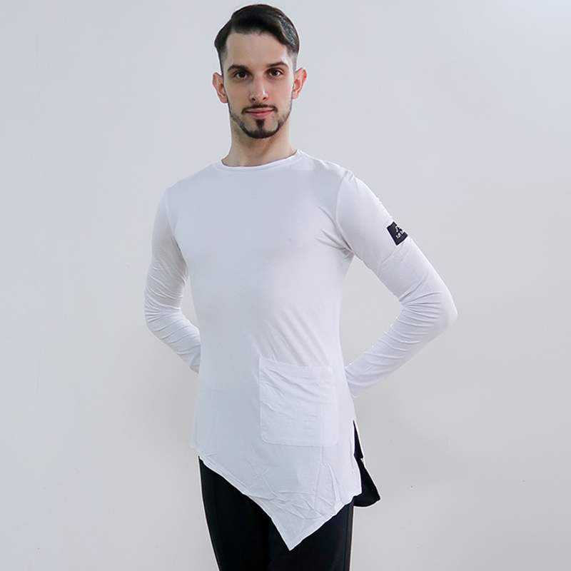 Latin Dance Shirts White Long Sleeve Irregular Top Male Tango Salsa Rumba Cha Cha Samba Dancing Clothes Men Practice Wear DN4015