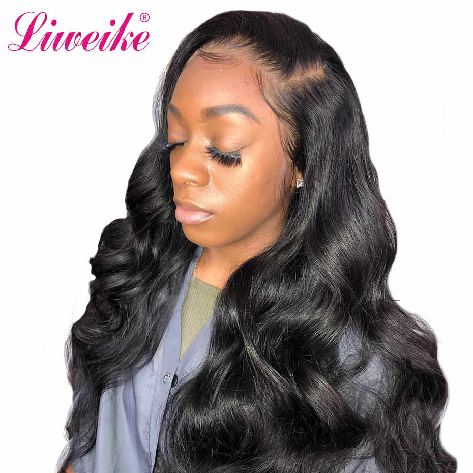 Liweike Brazilian Body Wave 13*4 Lace Front Human Hair Wigs 1B Color Wig Remy Hair Pre Plucked Bleached Knots 150% 200% Density