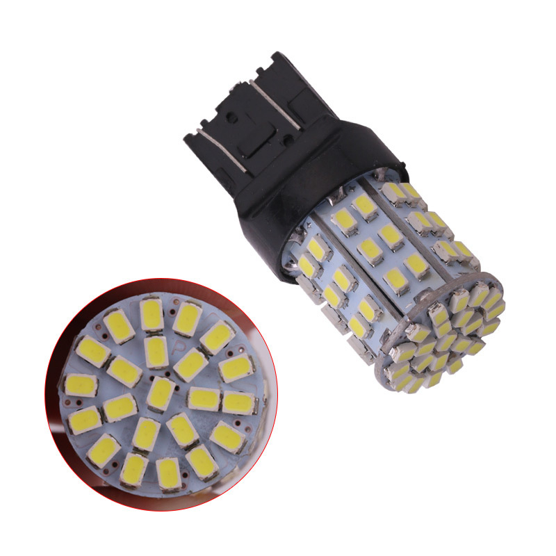 10Pcs T20 7443 7444 <font><b>W21</b></font> <font><b>5W</b></font> 1206 LED 64SMD Universal Car Tail Stop Brake Parking Lights Bulbs Turn Signal Lamp 7443 Bulb image