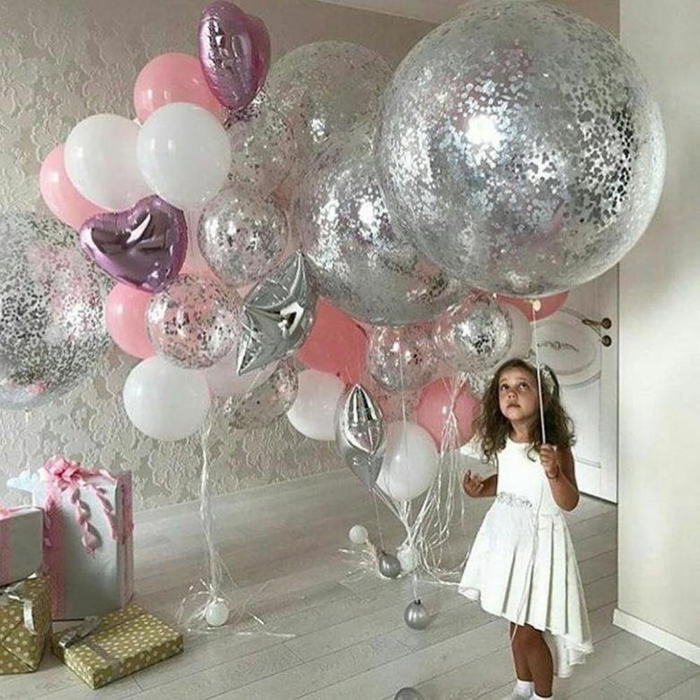 36inch Silver Confetti Balloon Pink White Latex Balloon Silver Romantic Theme Wedding Birthday Party Decoration Princes Baby Sho