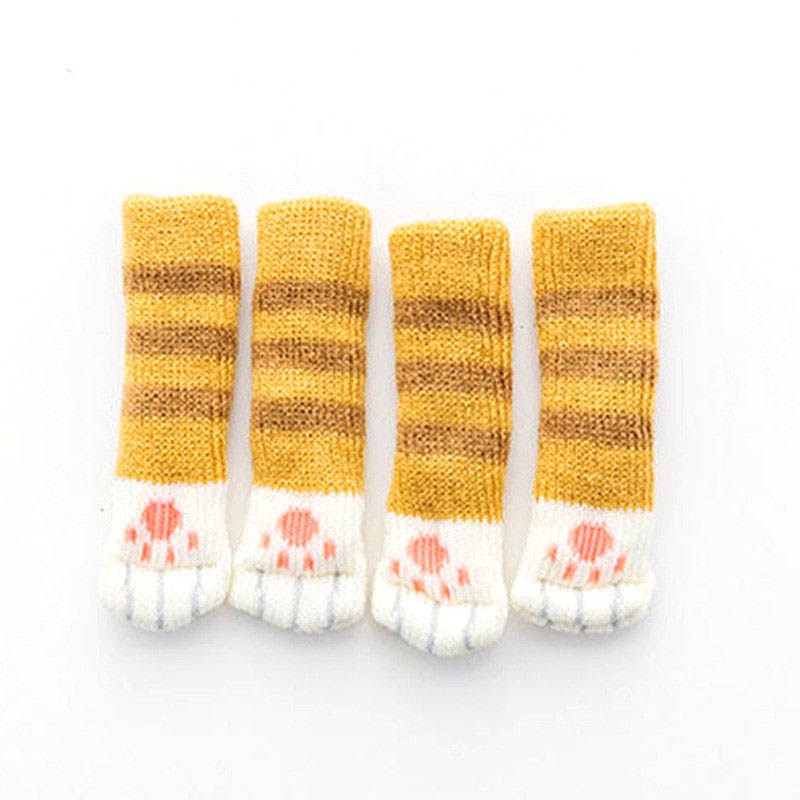 4Pcs Furniture Chair Leg Cover Pad Anti-slip Floor Knitting Sock Table Feet Mat DIN889
