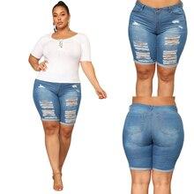 купить XL-5XL Plus Size Skinny Short Jeans Women Casual Denim Jeans Nature Waist Short Pencil Pants Washed Summer Mom Jean Femme Pants по цене 1150.87 рублей