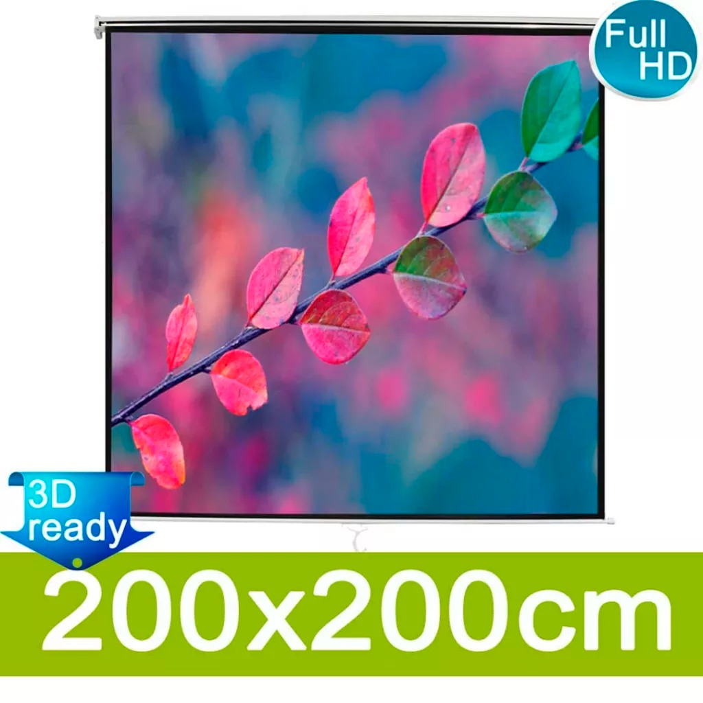 HD Widescreen Manual Projection Screen 200x200 Cm White Pull Down Projection Manual 3D Projector Screen For Cinema Office V3