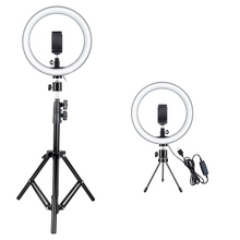 Photography LED Selfie Ring Light 26CM Dimmable Camera Phone Ring Lamp 10inch With Table Tripods For Makeup Video Live Studio dimmable mini led studio camera ring light video light annular lamp with tripod photo studio lights for camera phone live show